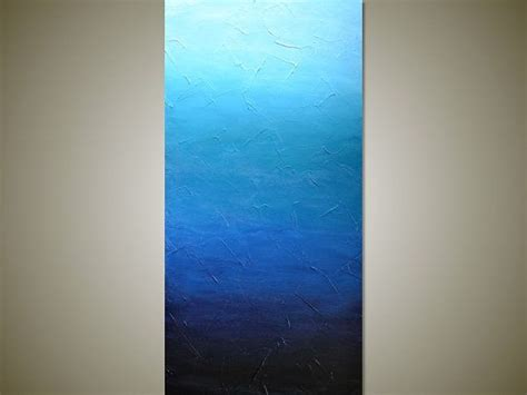 ombre acrylic paint on canvas large blue ombre textured abstract painting modern