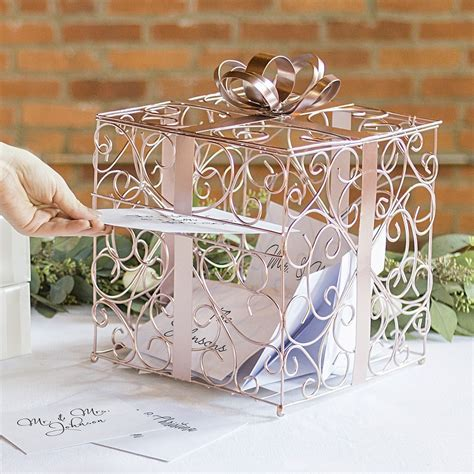 Wedding Gift Box gold scrolled wire wedding gift card box