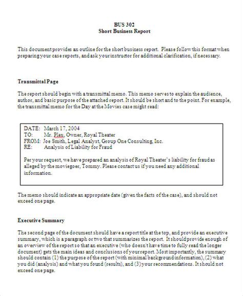 business reports templates exle of a structured report