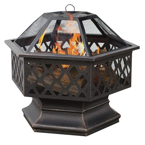 rubbed bronze fireplace tools uniflame 24 in hex shaped lattice pit in rubbed