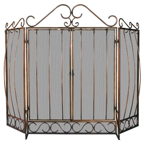 Uniflame Fireplace Screen With Doors by Uniflame Venetian Bronze 3 Panel Fireplace Screen With Doors And Bowed Bar Scrollwork S 1659