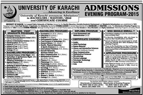 Karachi Mba Admission 2017 Evening by Of Karachi Uok Evening Program Admissions 2017 Form
