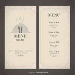 Food Menu Template Free by Classic Food Menu Template Vector Free
