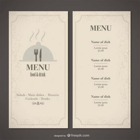 free food menu template classic food menu template vector free