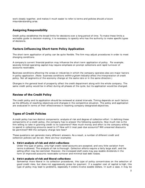 Credit Policy Template Credit Policy Sle Free