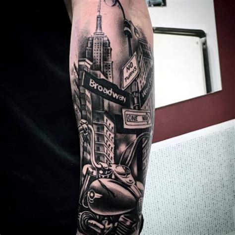 street sign tattoo 70 city skyline designs for downtown ink ideas