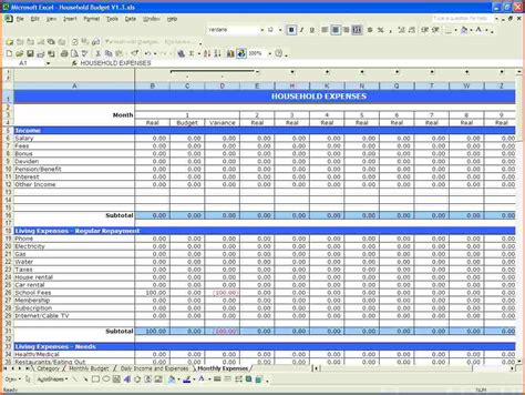 household budget template excelmemo templates word memo