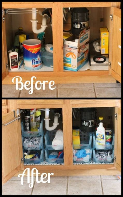 kitchen sink storage ideas under sink cabinet organization casa pinterest