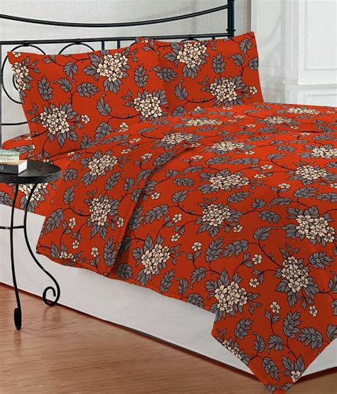 orange bed sheets bombay dyeing orange gray floral poly cotton double bed