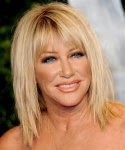hairstyles with light bangs suzanne somers medium straight casual hairstyle with