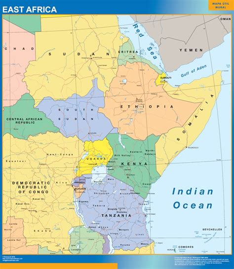 special east africa map world wall maps store
