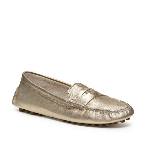 the loafer coach nicola loafer in gold platinum lyst