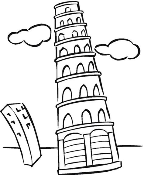 leaning tower of pisa colouring pages clipart best