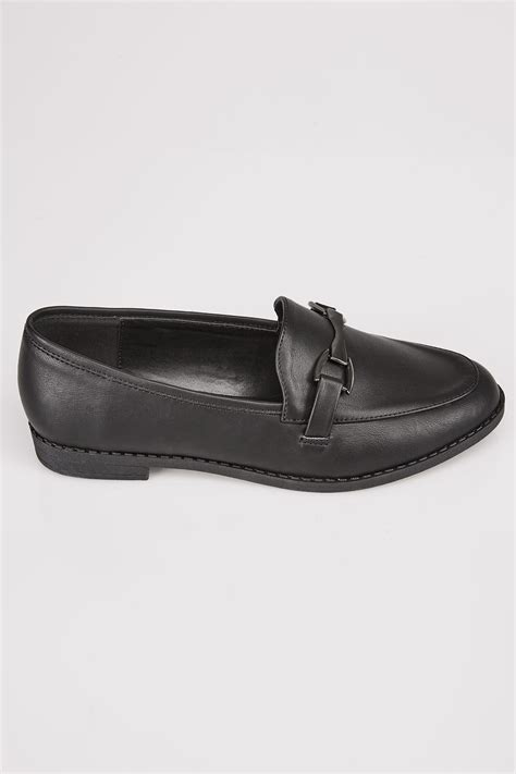 Text Decoration Italic by Black Slip On Loafers In Eee Fit Wide Fit