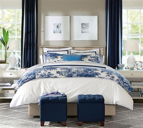 blue table bedroom matine toile duvet cover sham pottery barn