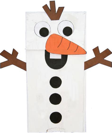 paper bag snowman puppet
