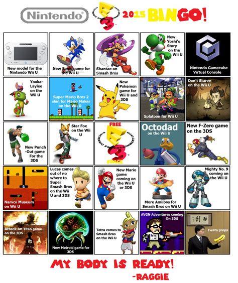E3 Bingo Card Template by Nintendo E3 Bingo 2015 By Enophano On Deviantart
