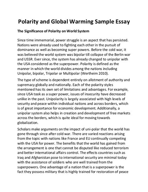 Global Warming Essay by Polarity And Global Warming Sle Essay