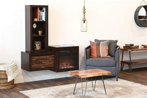 modern floating wall mount electric fireplace media console  bookca woodwaves
