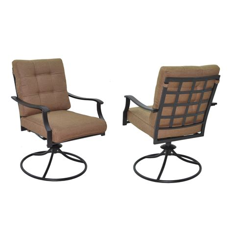 Patio Chairs Swivel Shop Garden Treasures Set Of 2 Eastmoreland Textured Brown Cushioned Steel Swivel Patio Dining