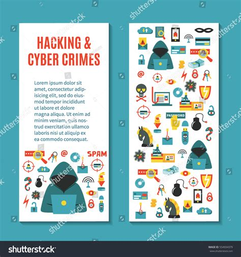 Hacking Cyber Crime Vertical Vector Banner Stock Vector 554934379 Shutterstock Hackers Website Template