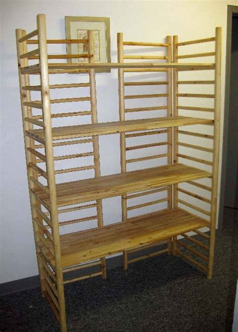 wooden display shelves wood dowel ladder rack display with 4 adjustable shelves