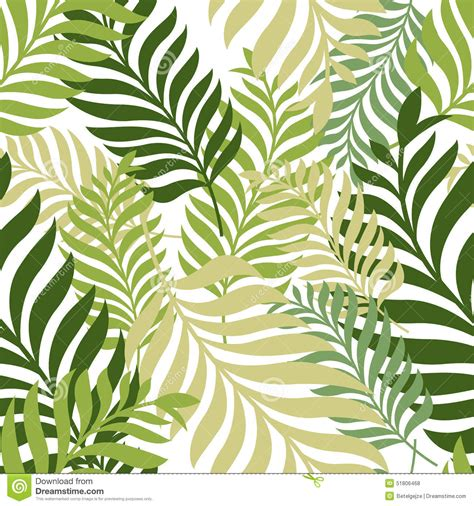 seamless nature pattern free green palm tree leaves vector seamless pattern nature