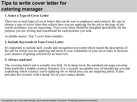 Cover Letter For Catering by Catering Manager Cover Letter