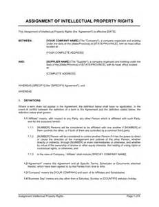Intellectual Property Agreement Template by Assignment Of Intellectual Property Rights Template