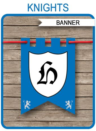 knight party banner template happy birthday banner