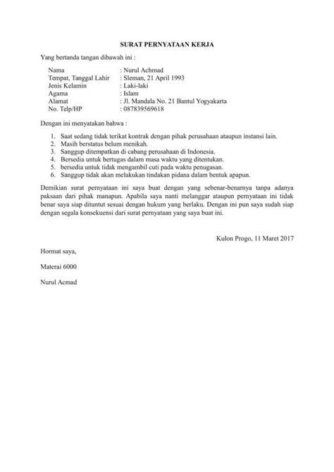 Surat Pernyataan Kerja by 15 Contoh Surat Pernyataan Dengan Penulisan Yang Sopan