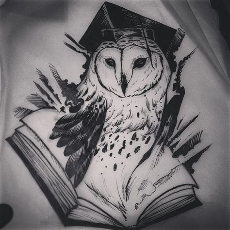 black and white owl tattoo wise black and white owl reading a book design