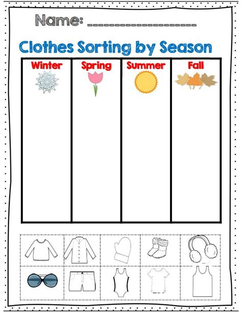 clothes for different seasons worksheet crafts actvities and worksheets for preschool toddler and