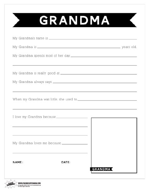 Printable Grandma Questionnaire | printable mother s day questionnaire for grandma paging
