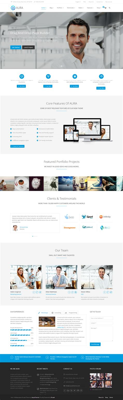 drupal themes responsive parallax free aura premium responsive multipurpose drupal theme