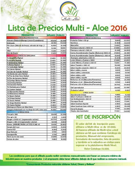 precios de soat 2016 lista de precios de multi aloe 2016