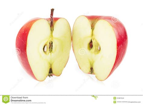 la pomme a 233 en deux parts photo stock image