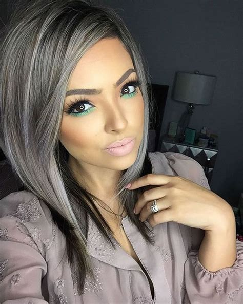 modern black hairstyles with a streak of grey 20 latest mixed 2018 short haircuts for women bob pixie