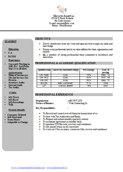 Resume Format For Experienced It Professionals Doc 10000 Cv And Resume Sles With Free Free Resume Sle Ca Chartered Accountant