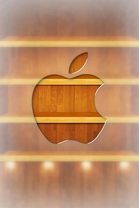 Creative Wood Apple Logo Android Iphone 4 4s 5 5s 5c 6 6s 7 Plus apple wood logo and shelf iphone wallpaper hd free iphonewalls