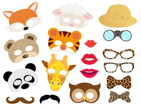free printable photo booth props animals instant download jungle animals photo booth props animal