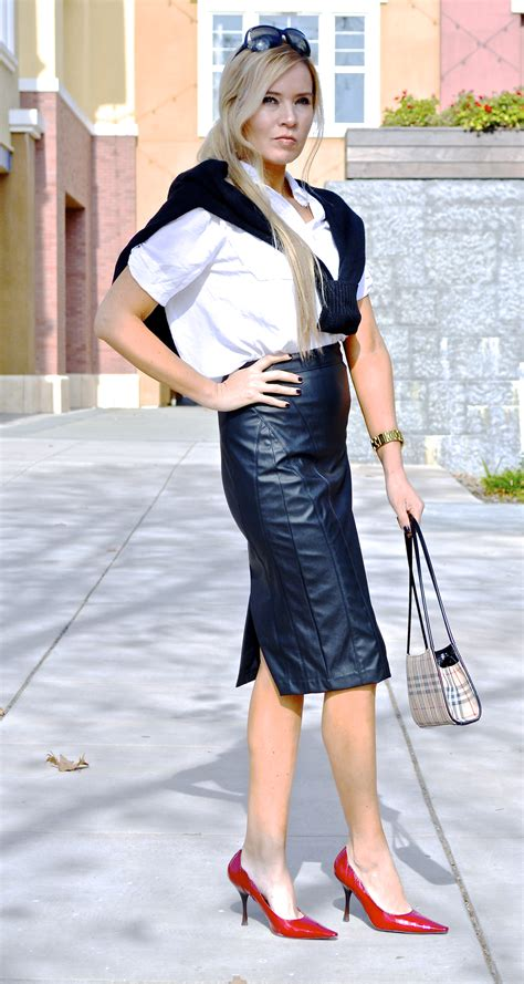 leather skirt by bar macy s black sweater by h m