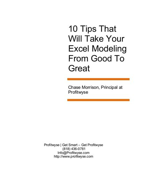 8 Tips On Taking Great Photos by 10 Excel Tips To Take Your Modeling From To Great
