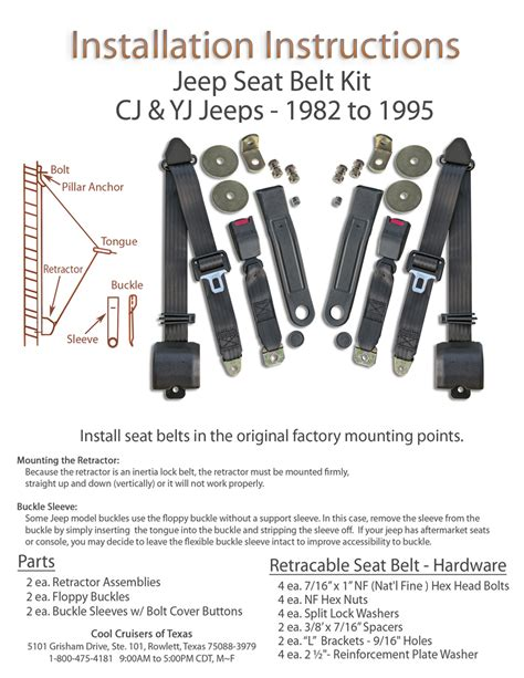 seat belt installation jeep seat belts