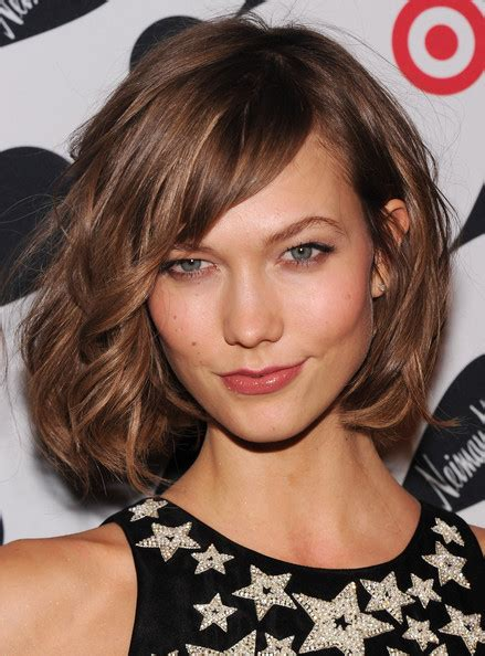 karlie kloss hair color karlie kloss short hairstyles curled chin length bob with