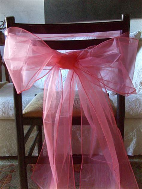 coral organza chair sashes organza chair bows in coral pack of 10