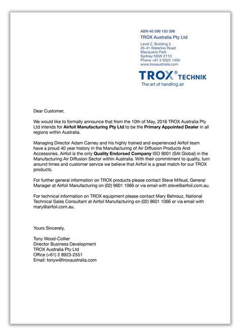 Introduction Letter To A Company As Dealer Airfoil Is The Primary Dealer For Trox In Australia Airfoil