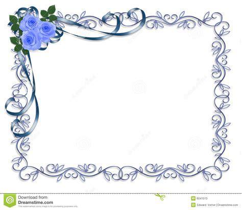 Blue Roses Wedding Invitation Border Stock Illustration