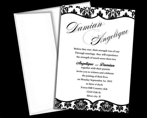 free black and white wedding invitation templates wedding invitation template black and white damask blank