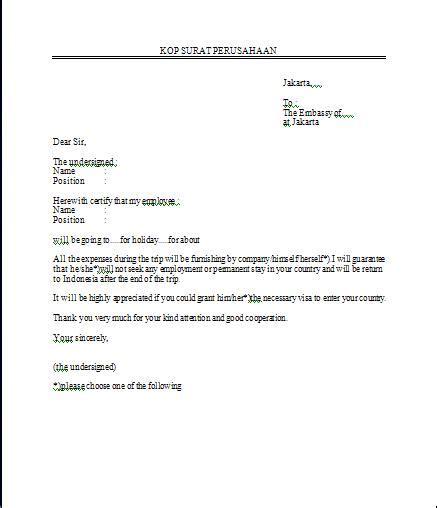 Surat Izin Sekolah Simpel by Contoh Surat Permohonan Visa Anekacontoh